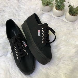 Superga Black Canvas Platform Sneakers Lace Up
